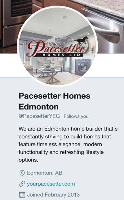 Pacesetter Homes Twitter Bio Example Image